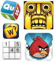 google apps - games - temple run, angry birds, words with friends, wordzup, sudoku