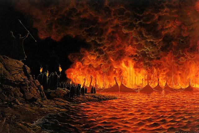 Η πυρά των καραβιών, εικονογράφηση του Ted Nasmith για το Silmarillion