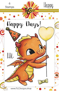 Happy The Dragon Polymer stamp from TLC Designs for card making and paper crafting