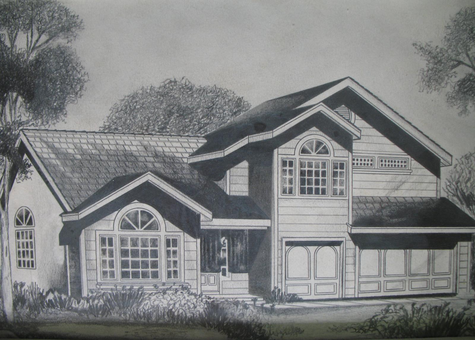 Easy House Drawings In Pencil