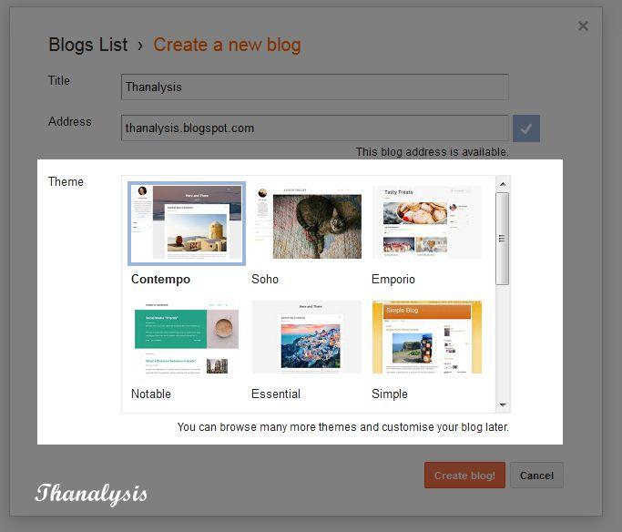 Select theme for your blog - Thanalysis