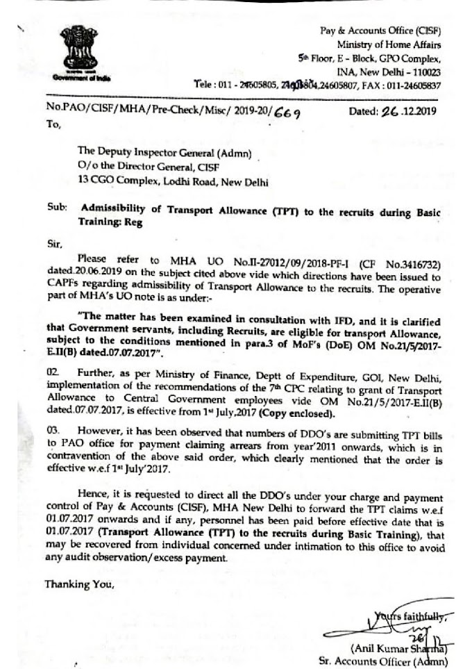 Admissibility of Transport Allowance (TPT) to the recruits during Basic Training