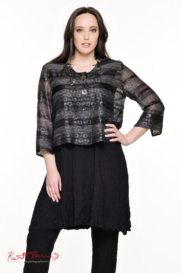 Kathleen Berney Look Book SS 2013 - pattern jacket, black skirt and pants - Photo by Kent Johnson.