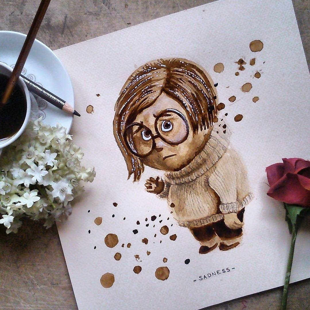 07-Sadness-Inside-Out-Nuria-Salcedo-nuriamarq-Celebrities-and-Animated-Movies-Painted-with-Coffee-and-Brown-Pencil-www-designstack-co