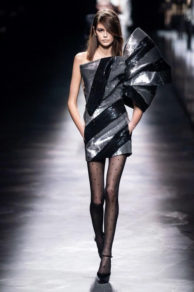vestido lazo metalizado