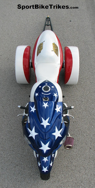 red white and blue custom motorcycle stars and stripes drag trike conversion