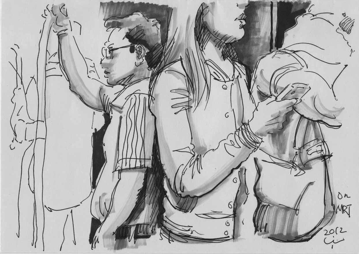 Sealed Man: Drawings On MRT Train