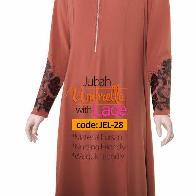Jubah Umbrella Lace JEL-28 Persian Brown Depan 11