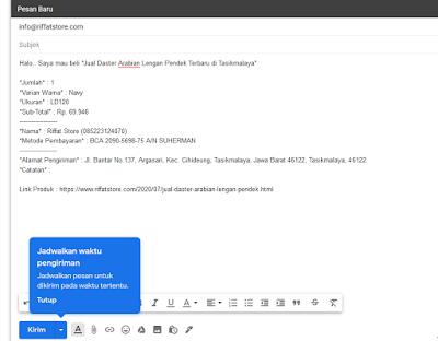 Kirim Pemesanan Melalui Gmail