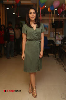 Actress Raashi Khanna Stills in Green Short Dress at Mirchi 95 Suno Aur Mercedes Jeeto Contest  0174.JPG