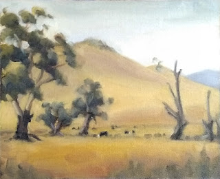 Landscape oil painting of eucalypts and cows with distant hills.