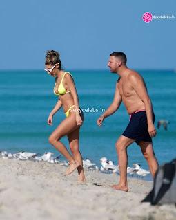 Chantel Jeffries  body huge    in tiny yellow bikini WOW Beach Side  Pics Celebs.in Exclusive 002