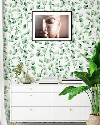 Papel Pintado Hoja Verde 077