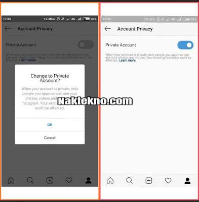 cara private akun Instagram bisnis
