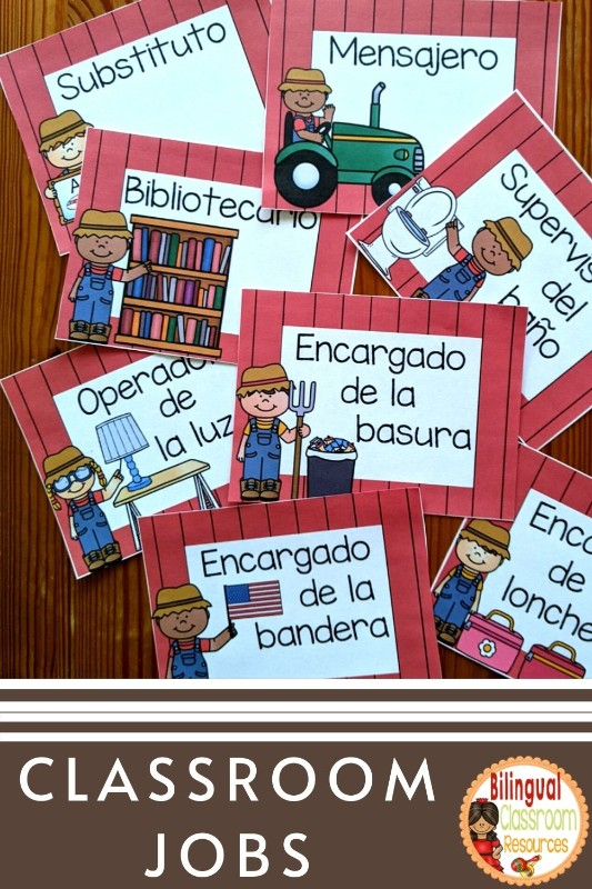 Classroom Jobs l Editable Classroom Jobs in Spanish l Trabajos del salón l Farm