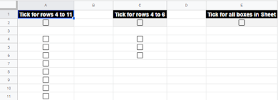 Screenshot of Google Sheet with Tickboxes