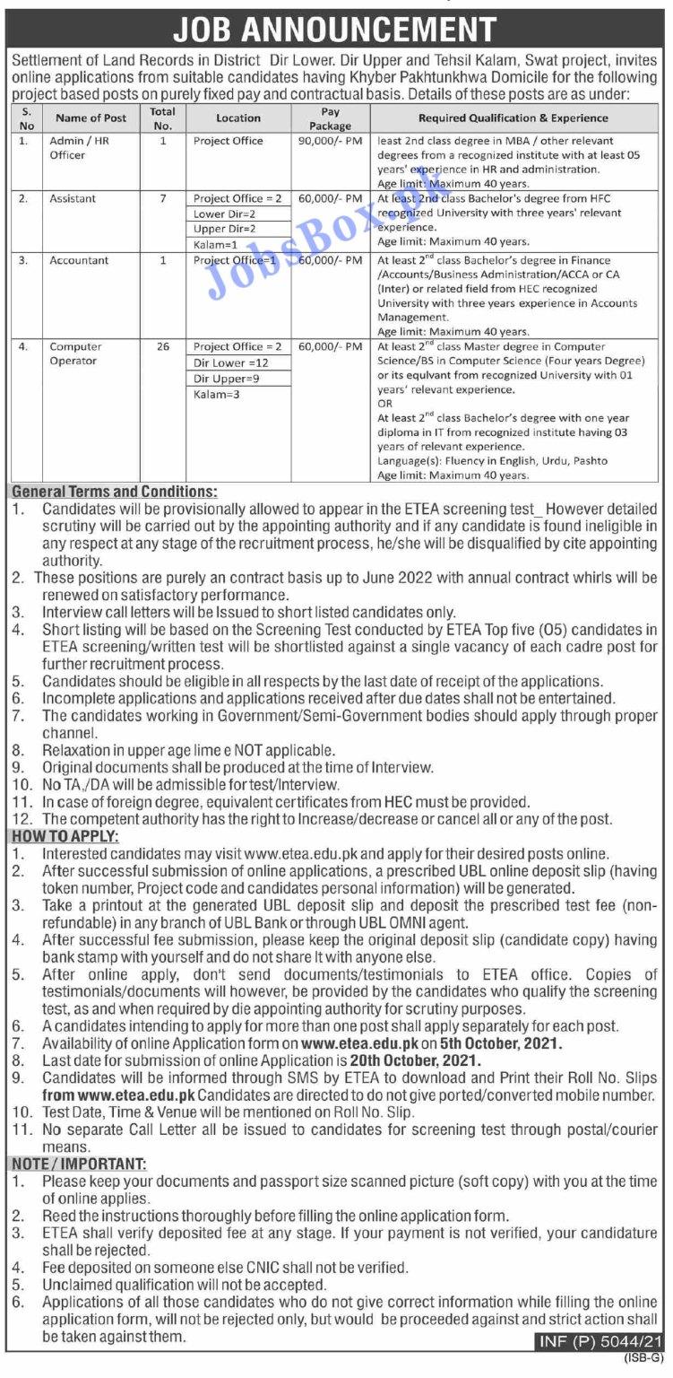 Revenue and Estate Department KPK Jobs 2021 in Pakistan