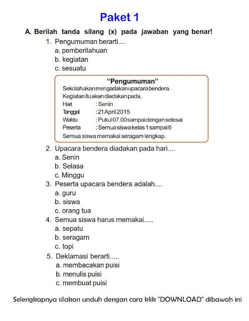Download Soal Uts Ganjil Bahasa Indonesia Kelas 2 Semester Ganjil Rief Awa Blog Download