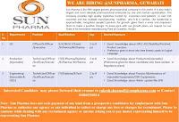 Sun Pharmaceutical Industries Ltd. Hiring  ITI/D.Pharma/Diploma/B.Pharma/ M.Pharma Candidates For Manufacturing Plant At Guwahati, Assam
