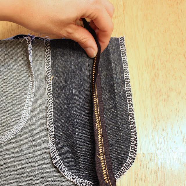 folding under the zipper fly