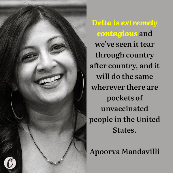 If you are unvaccinated, you are at great risk from Delta. Delta is extremely contagious and we've seen it tear through country after country, and it will do the same wherever there are pockets of unvaccinated people in the United States. — Apoorva Mandavilli, The New York Times Health and Science Reporter