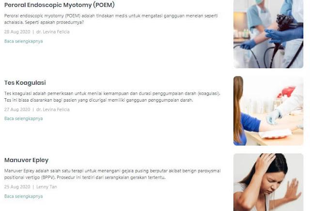 menu tindakan medis di sehatq