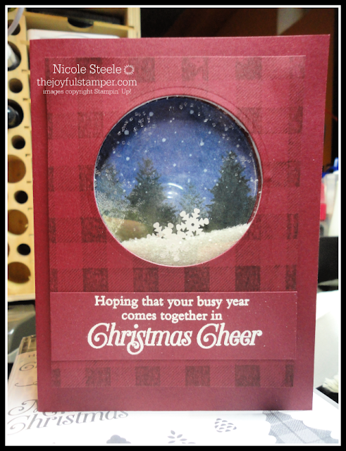 Snow globe scene with Stampin' Up!'s Buffalo Check and Perfectly Plaid | shaker card by Nicole Steele The Joyful Stamper