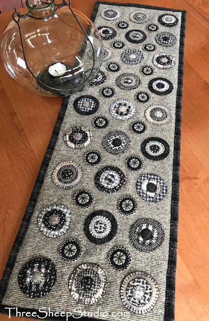 Wool Penny Rug Table Runner by Rose Clay at ThreeSheepStudio.com