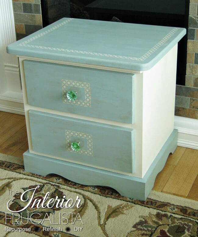 Greek Key Pine Bedside Table After