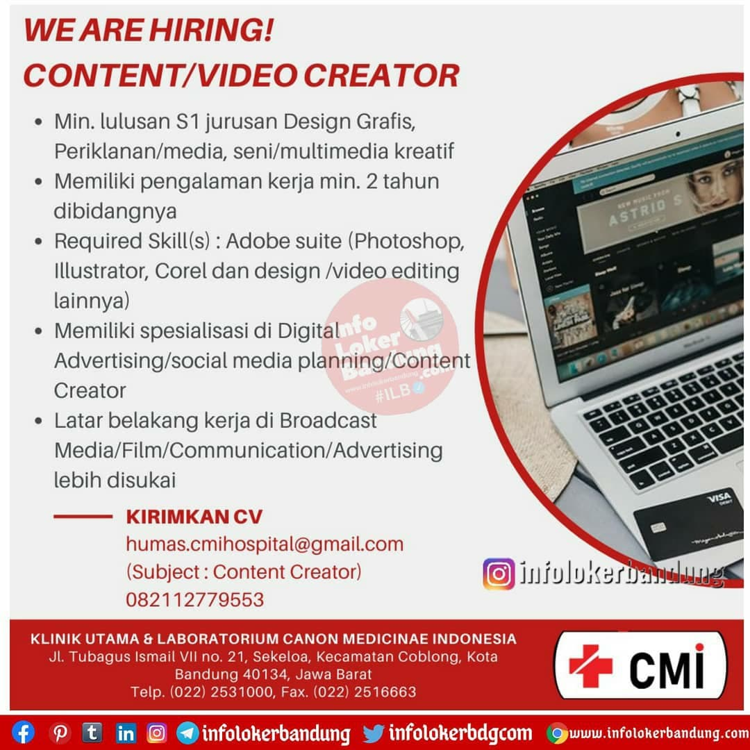 Lowongan Kerja Klinik Utama Laboratorium Canon Medicine Indonesia Bandung Januari 2021