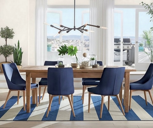 Blue and White Dining Room Design Blue Chairs Rug Stripes
