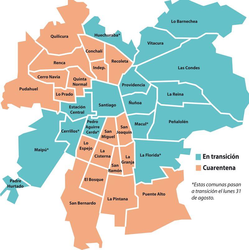 Así quedará el Gran Santiago con comunas en cuarentena y transición