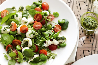 Cherry tomato, cress and broad bean salad Recipe