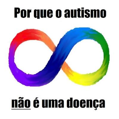 """Descrição da imagem #PraCegoVer: A frase """"Por que o autismo não é uma doença"""" envolve o símbolo da neurodiversidade, um sinal de infinito colorido com o gradiente espectral de cores estilizado como uma pintura. """"Por que o autismo"""" está em cima do símbolo e """"não é uma doença"""" está embaixo. A palavra """"não"""" está sublinhada. Fim da descrição."""