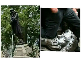 Protesters of George Floyd death tear down slave trader statue in Bristol