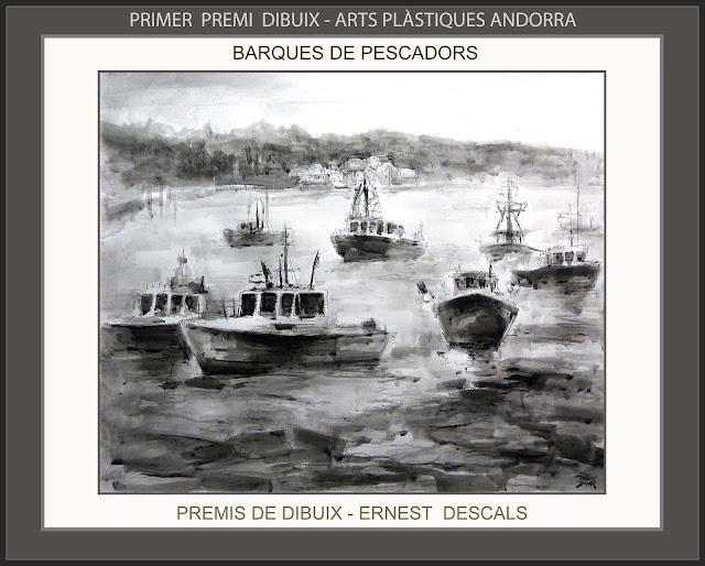 ANDORRA-CONCURS-ARTS-PLASTIQUES-PREMIS-PRIMER-PREMI-DIBUIX-BARQUES-PESCADORS-BOIRA-ARTISTA-PINTOR-ERNEST DESCALS