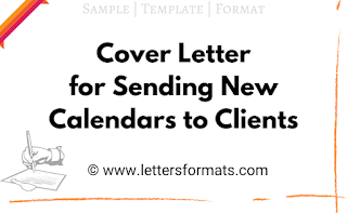 Cover Letter for New Calendar from Organization to its Clients
