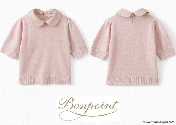 Princess Estelle wore Bonpoint light pink cashmere short sleeves sweater
