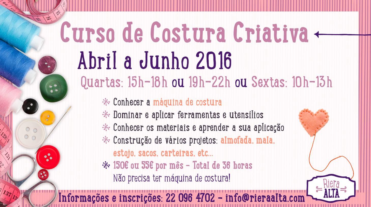 Curso de costura criativa no Porto (Abril a Junho de 2016)
