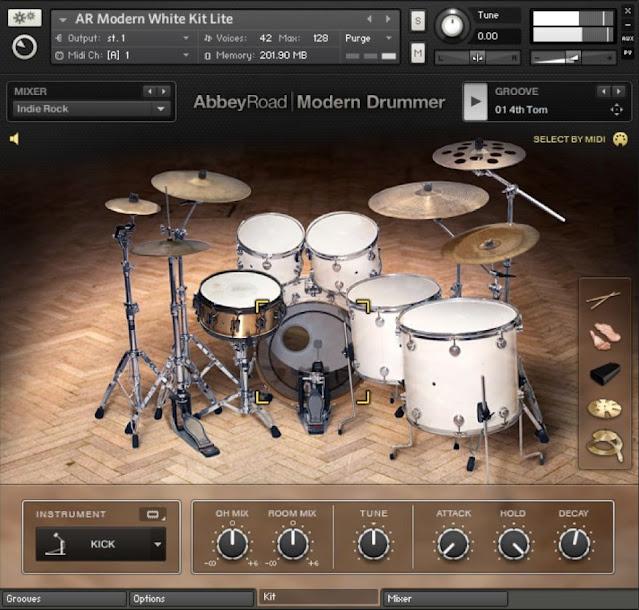 Interface da Library Native Instuments - Abbey Road Modern Drummer 1.3 (KONTAKT)