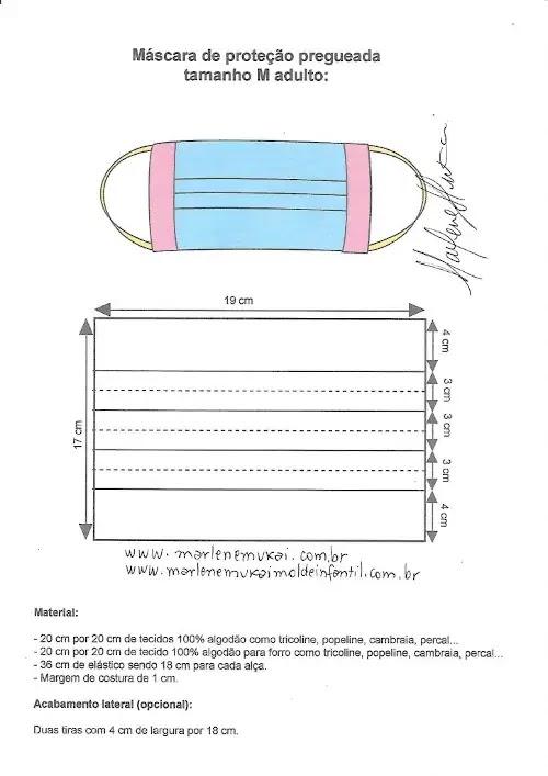 Como fazer máscara de tecido pregas - molde