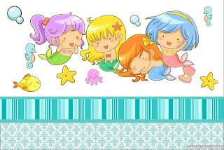 Baby Mermaid: Free Printable Invitations.