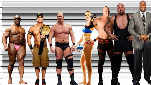 """6'1"""" Stone Cold Steve Austin height comparison with 5'10"""" Ronnie Coleman, 6"""" John Cena, 6'2"""" Kerri Walsh Jennings, 6'8"""" Kane, 6'10"""" (now) Big Show and 7'1"""" Shaquille O'Neal"""