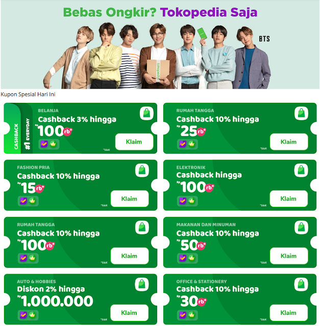 #Tokopedia - #Promo Spesial Bebas Ongkir & Cashback Hingga 100%
