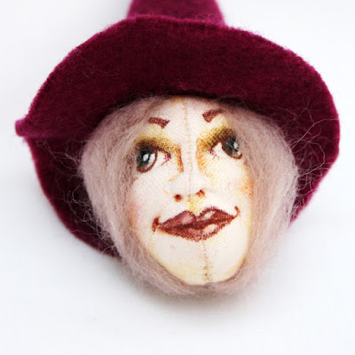 Witch art doll brooches