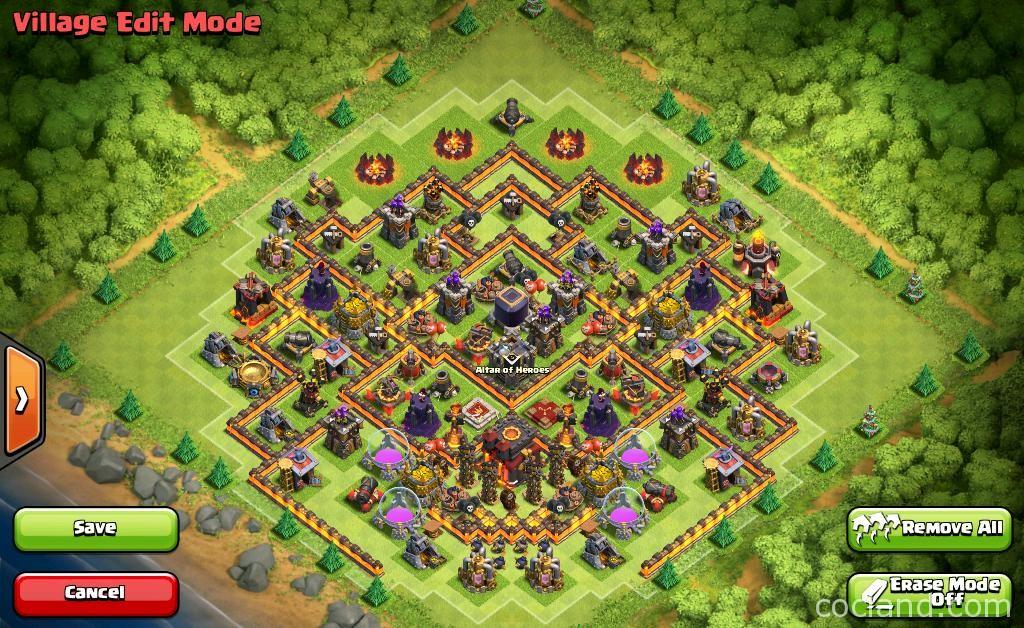Gambar Town Hall 10 Base Layouts dengan 275 Walls Terbaru ...  Gambar Town Hal...