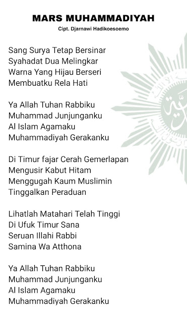 Lirik Mars Muhammadiyah (Sang Surya)