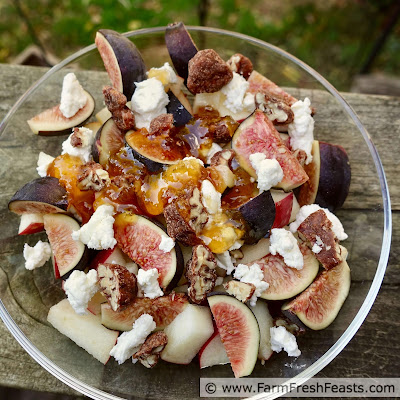 pic of a bowl of figs and apples, topped with goat cheese and drizzled with honey