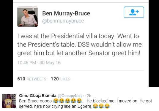 Nigerians reacts to Ben Murray-Bruce's claim of being prevented from greeting Buhari at the presidential dinner