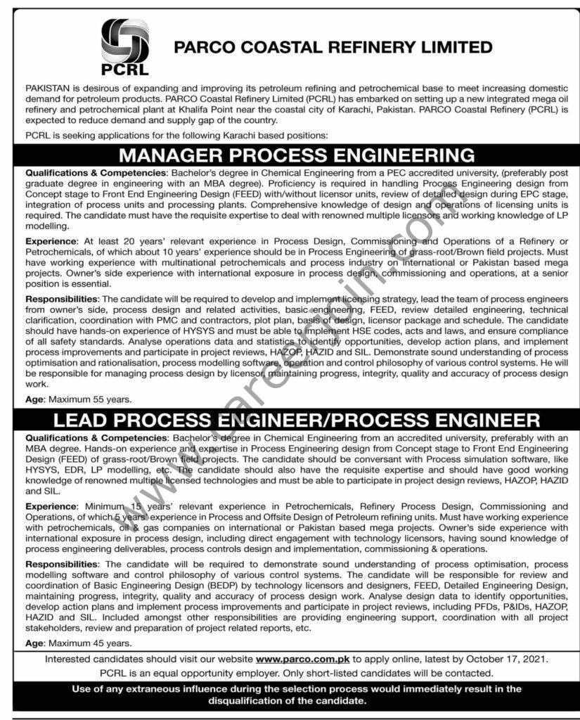 www.parco.com.pk - PARCO Coastal Refinery Ltd Jobs 2021 in Pakistan